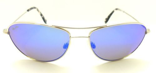 MAUI JIM 245-17 Baby Beach Sunglasses Silver / Blue Hawaii Polarized V2-32