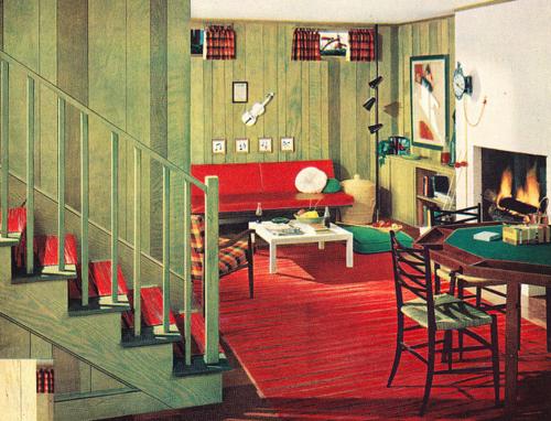 Retro Style 1950s Basement 1950s Decor 1950s Decor Vintage Interior Design Interior Colors Pyrex Furniture Design Design In 2020 1950s Decor Vintage House Retro Home