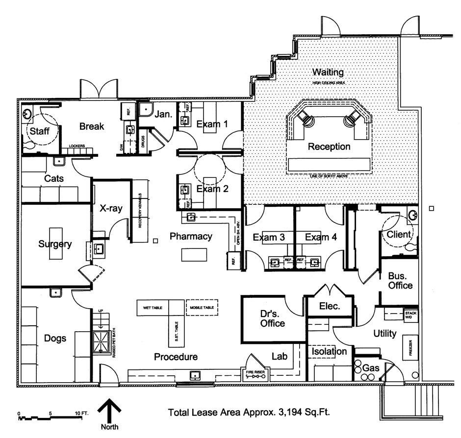 Veterinary floor plan: Southwest Veterinary Hospital: With