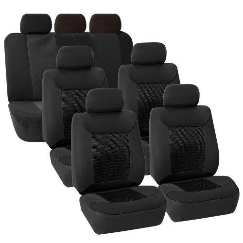 Black 3 Row Car Seat Covers Luxury For Van Minivan Truck Van Seat Covers Mini Van Car Seats