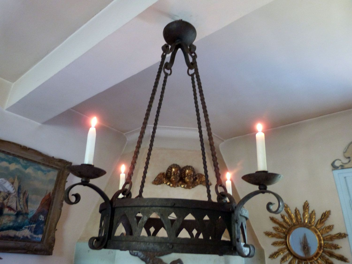 antique 1800s french iron chandelier lighting fixture ceiling