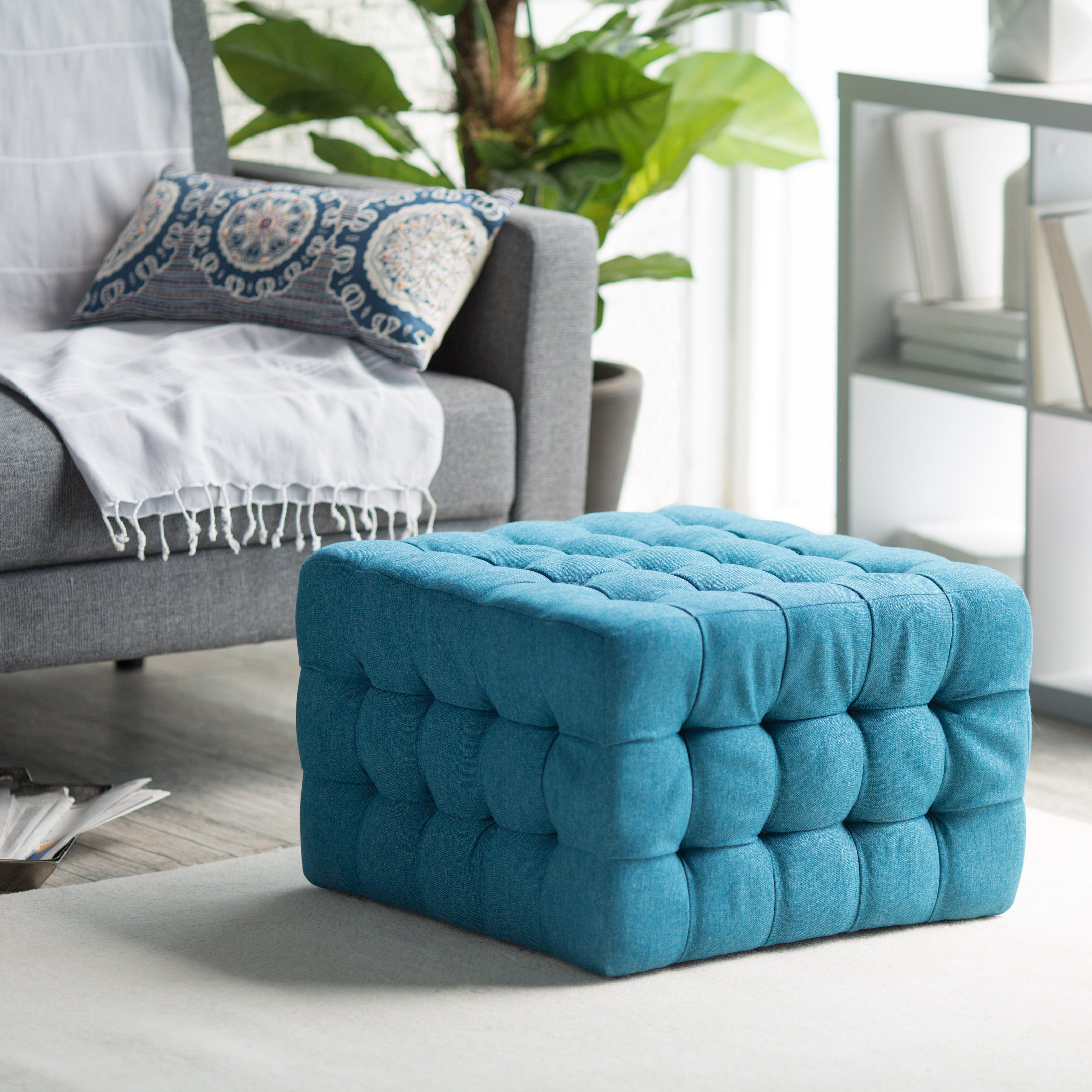 Belham Living Allover Tufted Square Ottoman Teal There S No