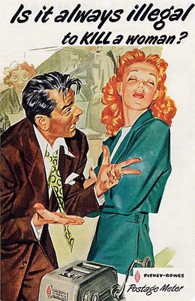 Vintage ad - is it always illegal to KILL a woman?