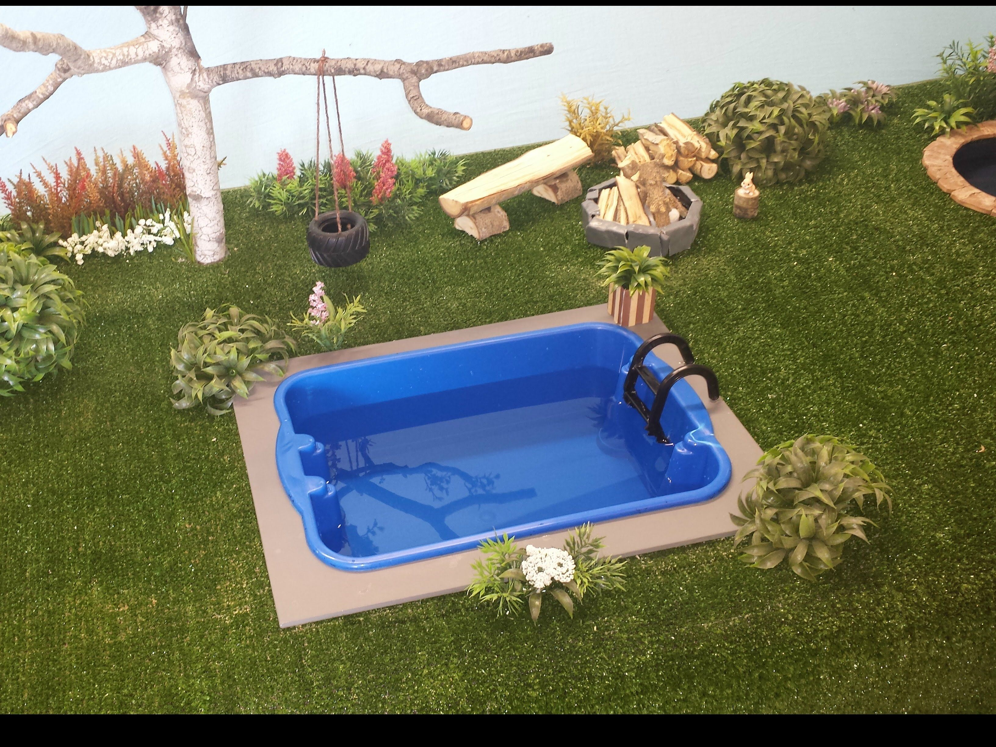 How To Make A Doll Backyard Pool Fashion Dolls Doll Houses Rooms Dioramas Pinterest