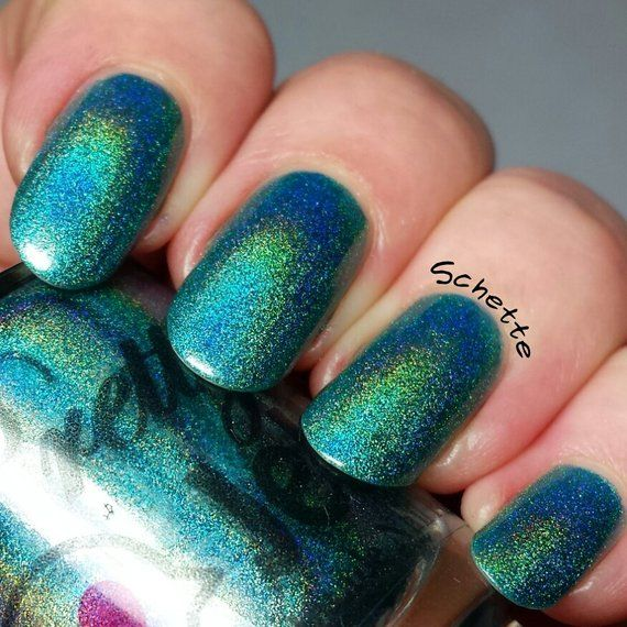 Nail Polish Holographic Lacquer Teal Holo Turquoise Color Blue Nails Shimmer In