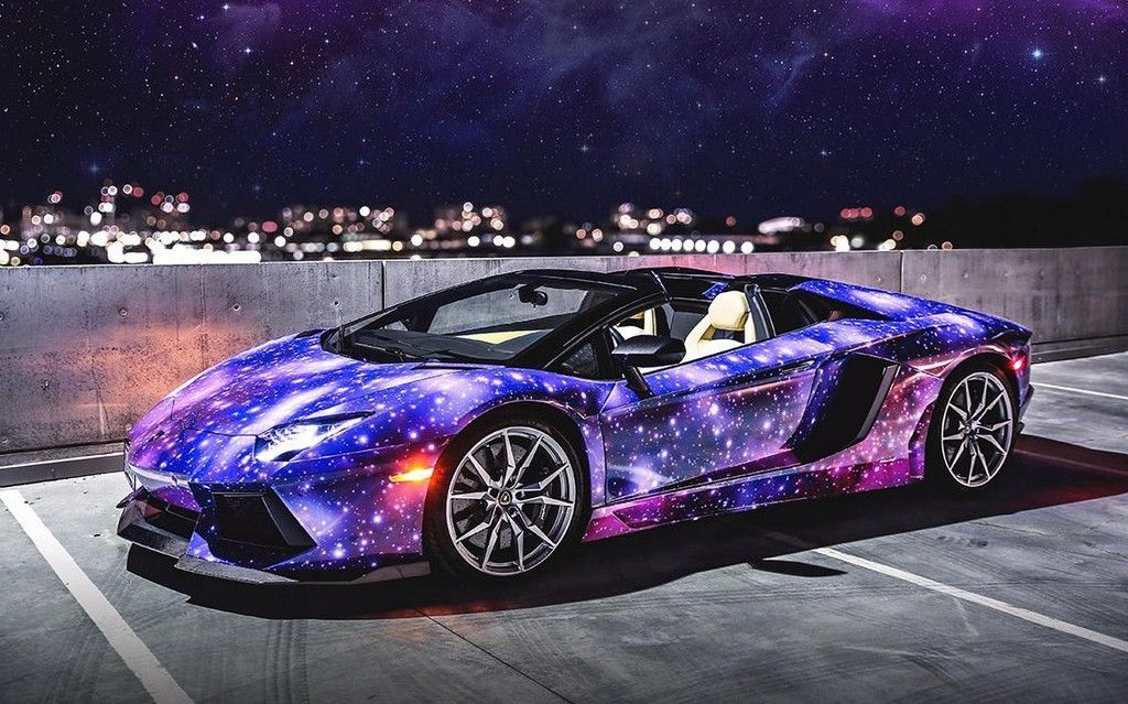 Calling Canada Home, This Truly Unique Lamborghini Aventador Roadster Is  Coated In A Custom Galaxy Wrap.