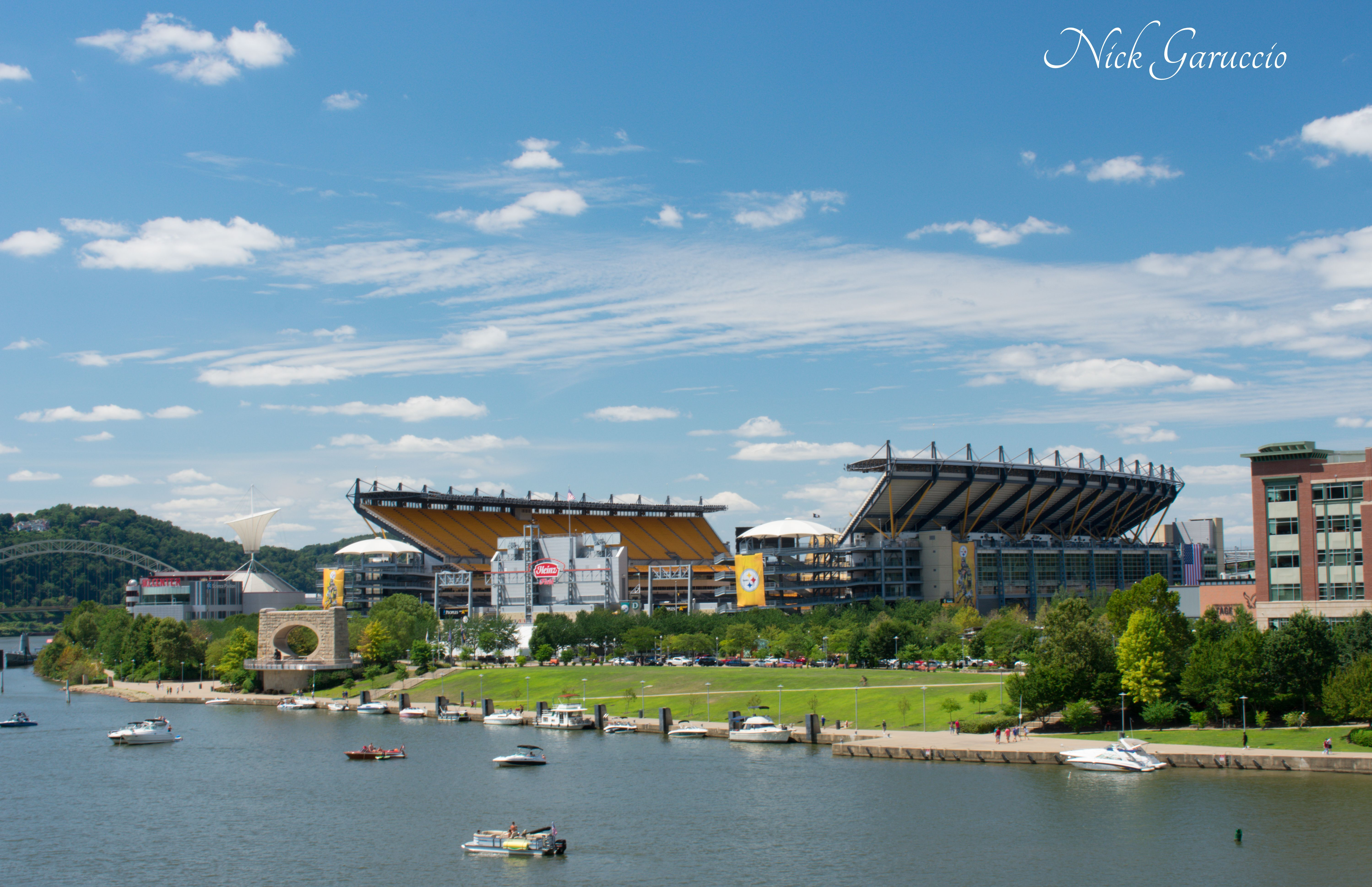 View of Heinz Field on a Blue Sky Day from the Point Point