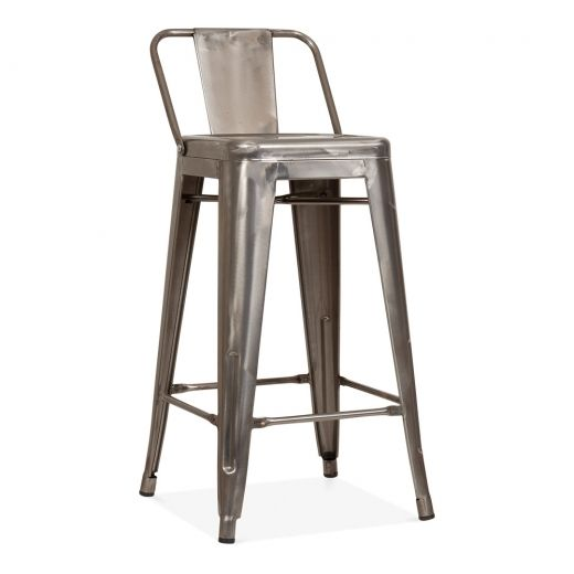 tolix style metal bar stool with low back rest gunmetal 65cm cult uk