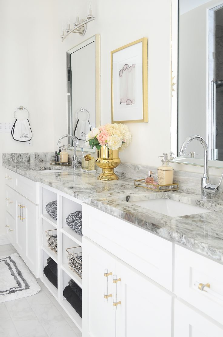 Glam Gold & White Master Bathroom Refresh is part of Gold Home Accents Master Bath - I am so excited that I pulled off this master bathroom refresh as part of the Primp and Pamper Bathroom Refresh hosted by Jeweled Interiors!…