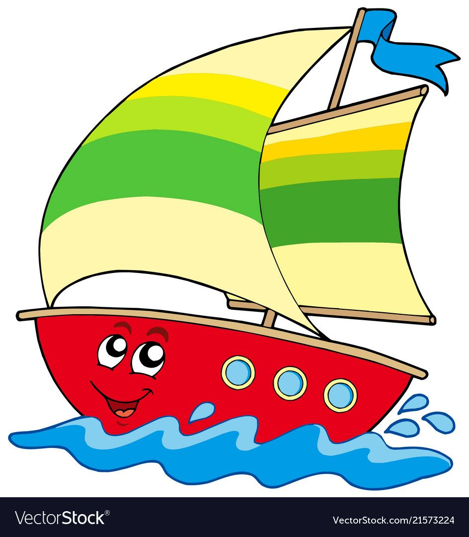 Cartoon Sailboat Vector Image On With Images Cartoon Cute