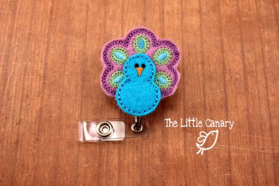 Peacock Badge ReelRetractable Badge by TheLittleCanaryShop on Etsy, $5.00