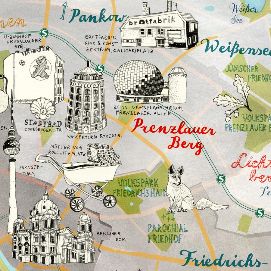 Map of Berlin Prenzlauer Berg Pankow Weissensee by Theresa Grieben online