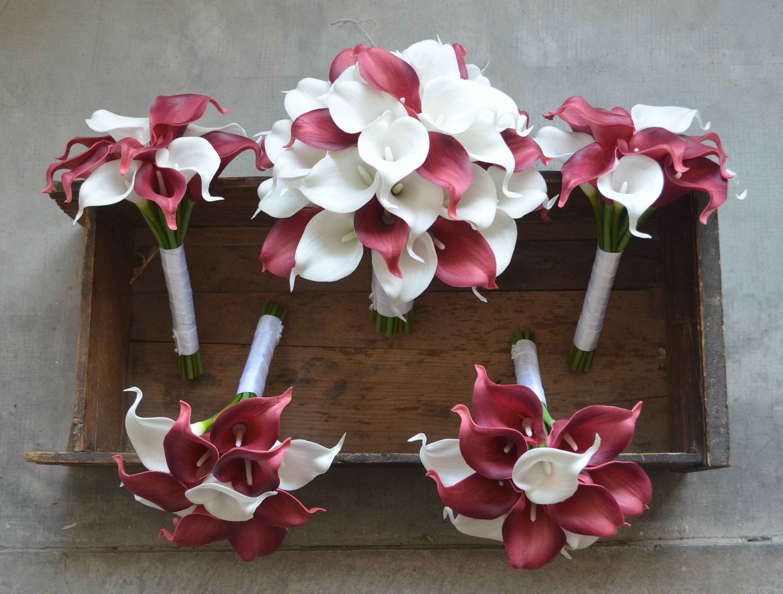 Burgundy Bridal Bouquets Calla Lilies Ivory Burgundy