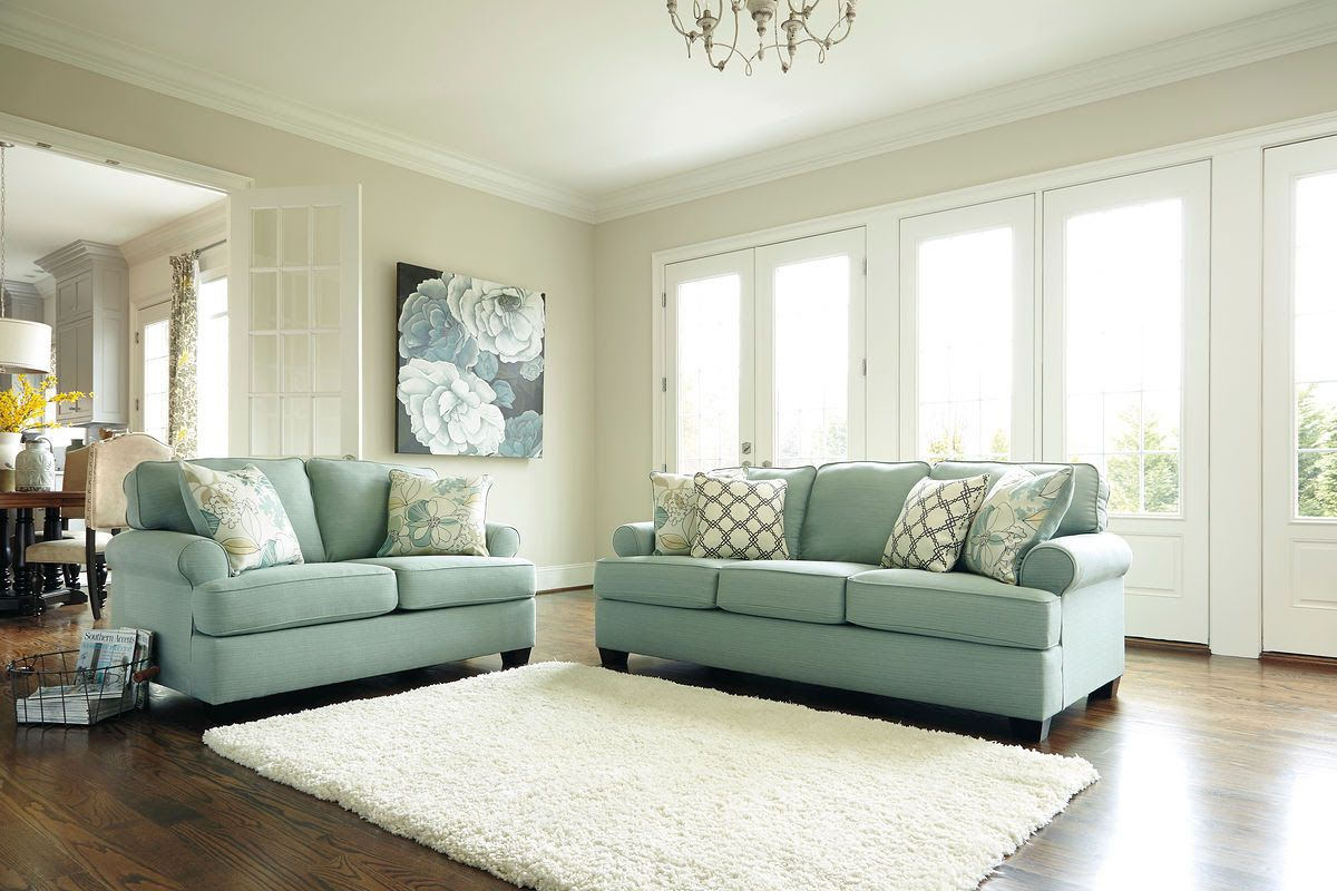 We love this seafoam couch and loveseat from ashley furnitures daystar collection only 999 99 if