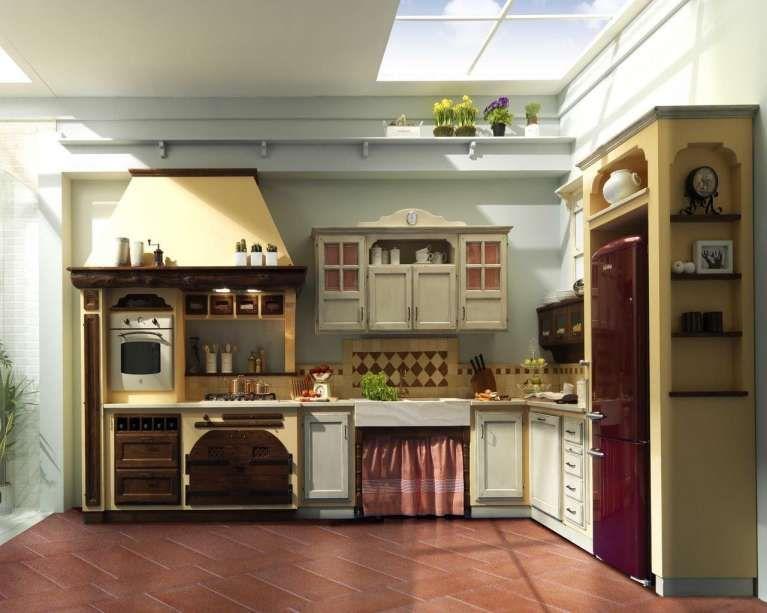 Cucine in finta muratura cucina con piastrelle bianche