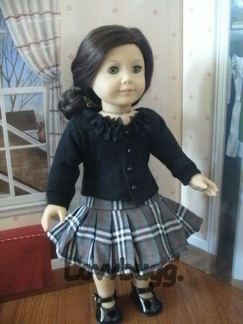 """Plaid Skirt n Sweater Set for 18"""" American Girl Doll Lovvbugg Widest Selection #Lovvbugg"""