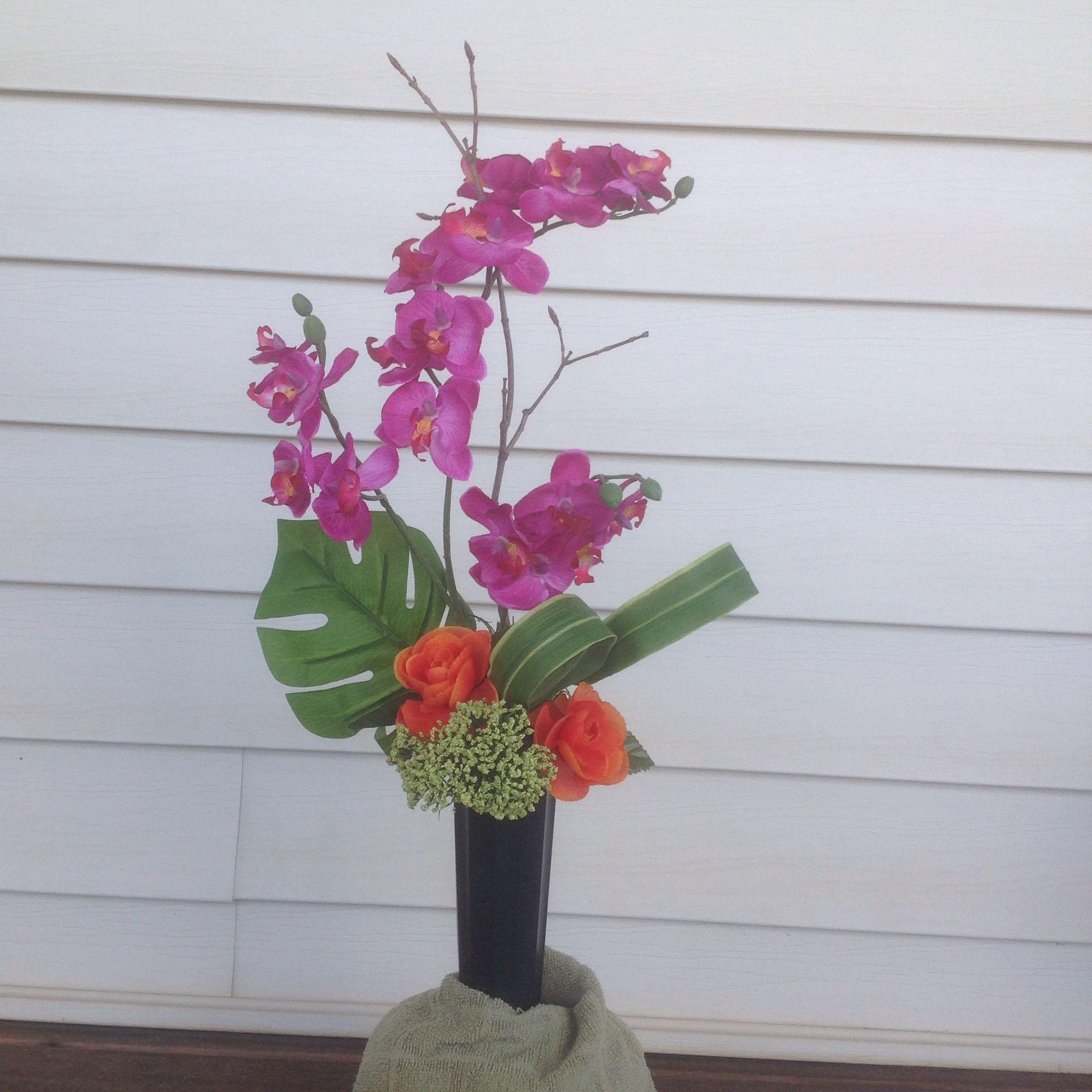 Cemetery Vase Silk Flower Design Arrangement Orchid Ranunculus