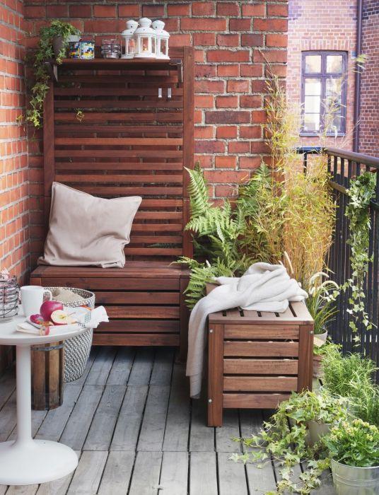 pplar bank met wandpaneel buiten bruin bruin gelazuurd ikea applaro pinterest balkon. Black Bedroom Furniture Sets. Home Design Ideas