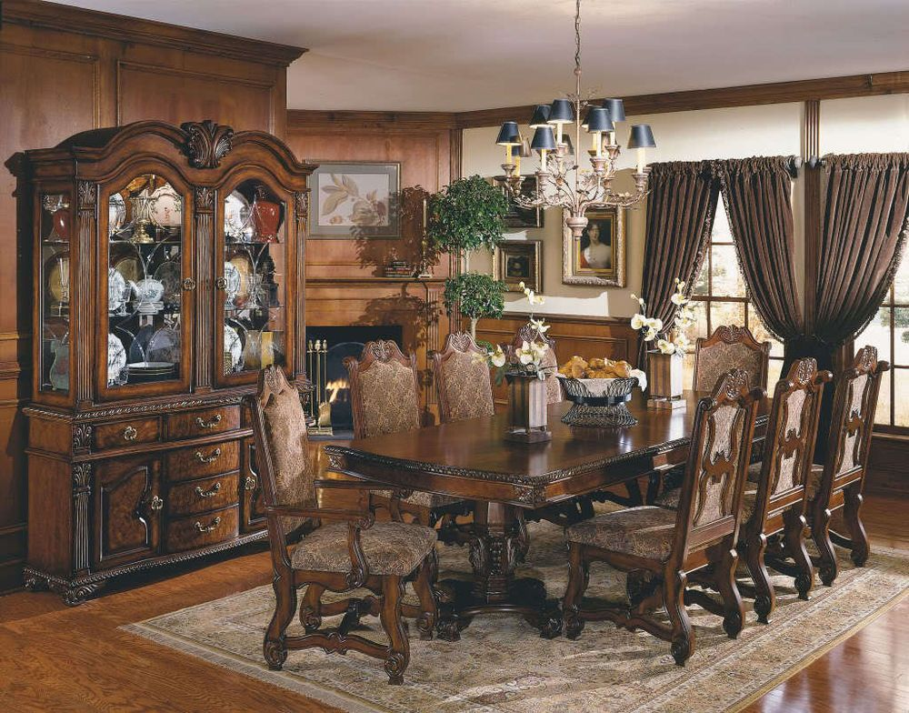Neo Renaissance Dining Room Set Formal China Cabinet Crownmark Traditional