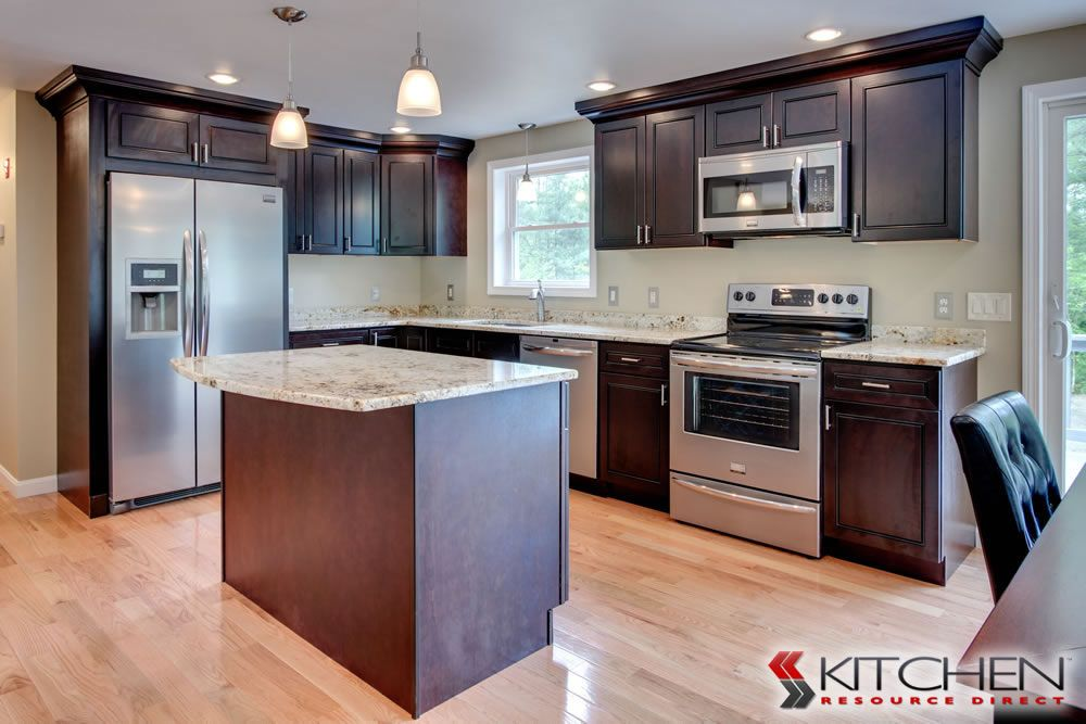 L Shaped Kitchen With Island; Dark Wood Cabinets, Add Quartz Counters And  White