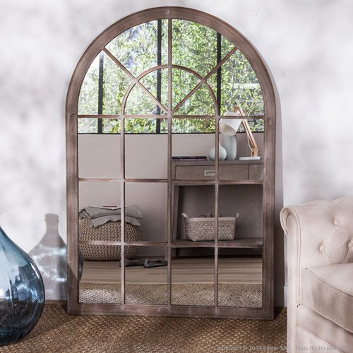miroir atelier xl en m tal forme arcade decoclico factory gris id es pour la maison. Black Bedroom Furniture Sets. Home Design Ideas