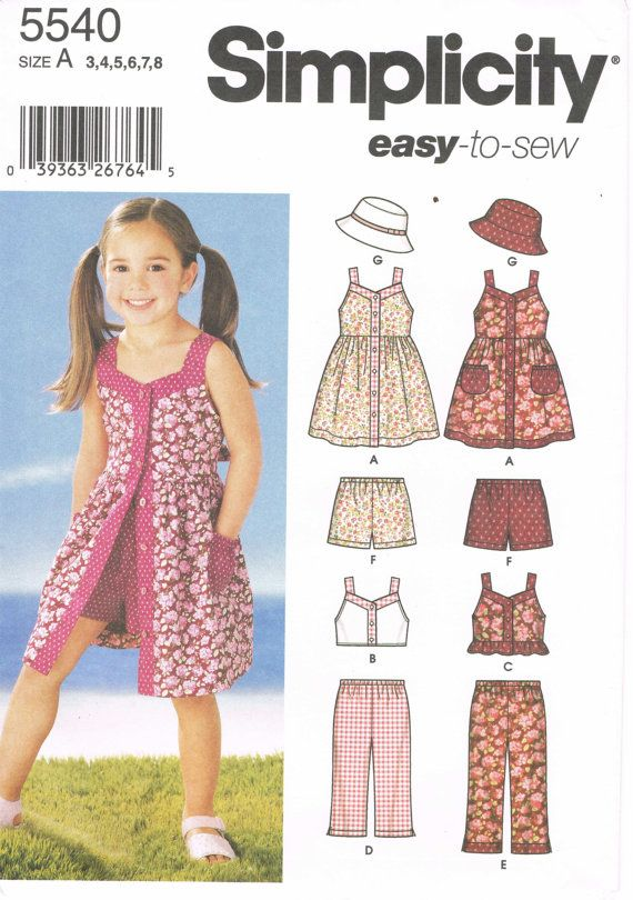 Sewing Pattern 2000s - Simplicity 5540 - Size 3/4/5/6/7/8 - Easy To ...