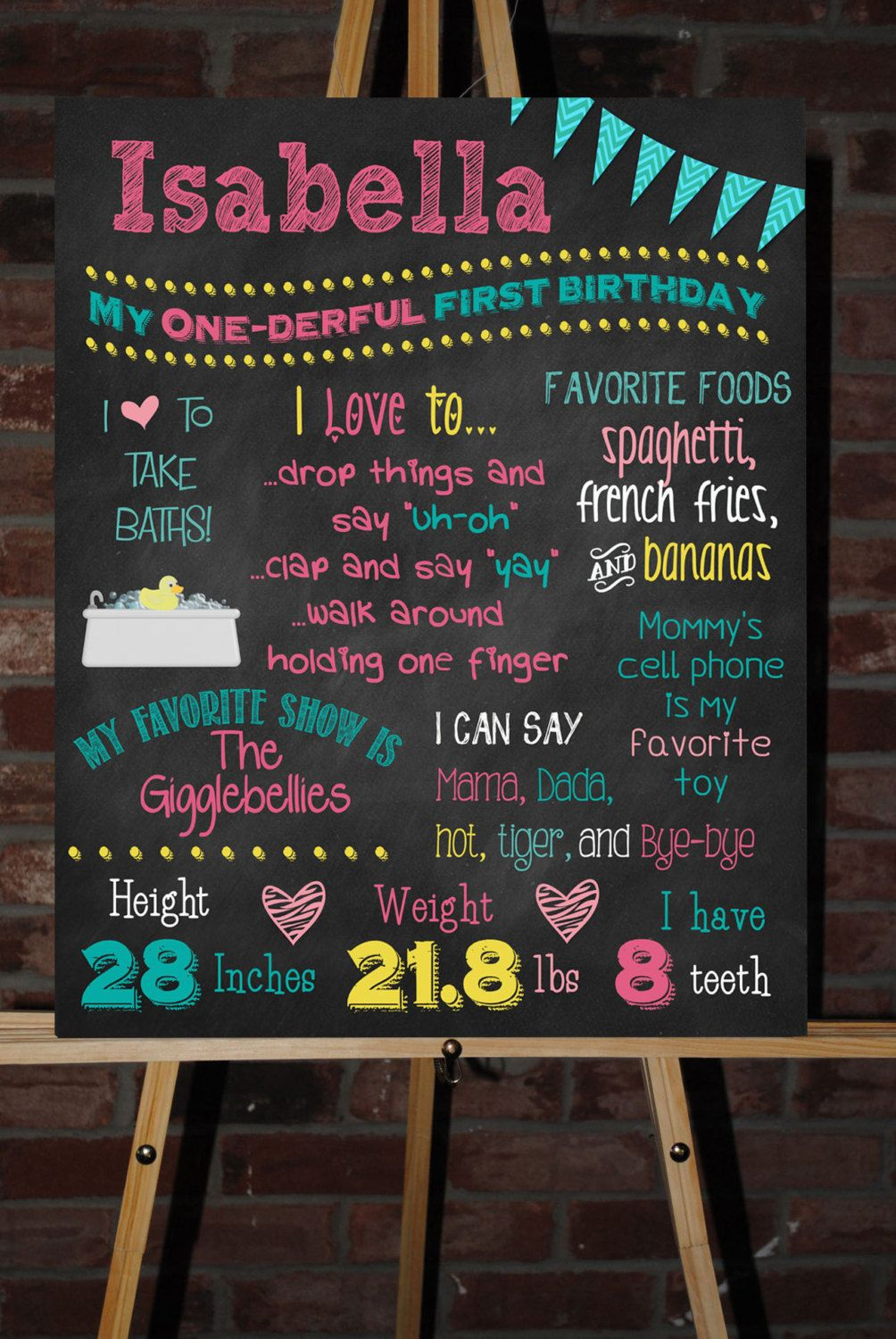 custom printable first birthday sign board by chalkingitupboards