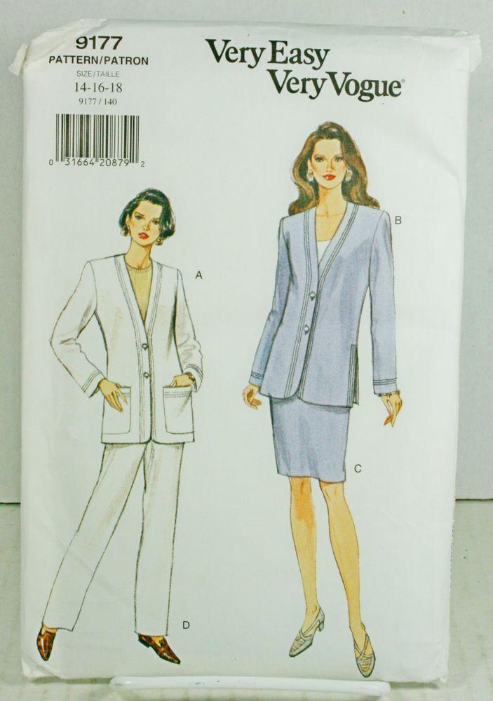 Vogue 9177 Sewing Pattern Petite Plus Size 14 16 18 Pant Suit Skirt ...