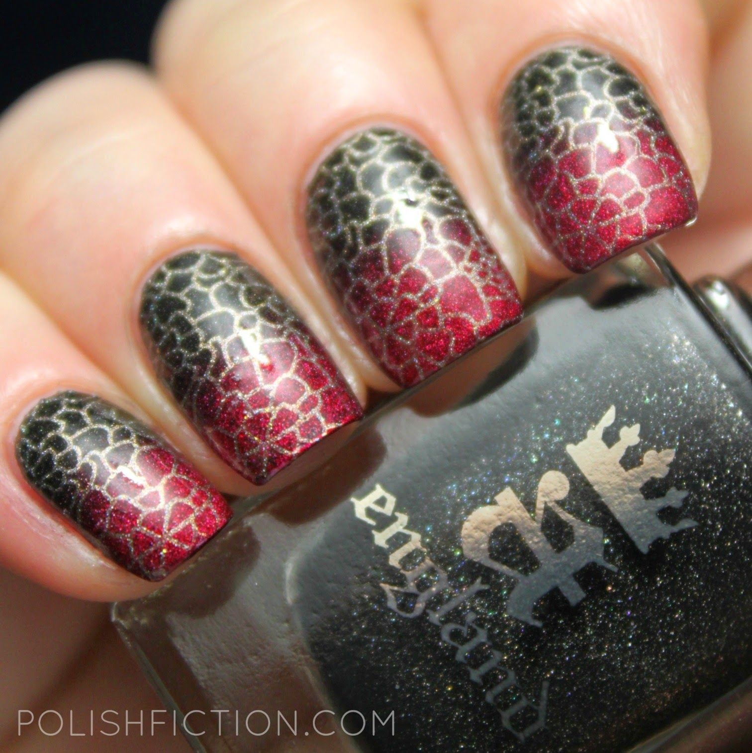 A England gradient nail art with some stamping
