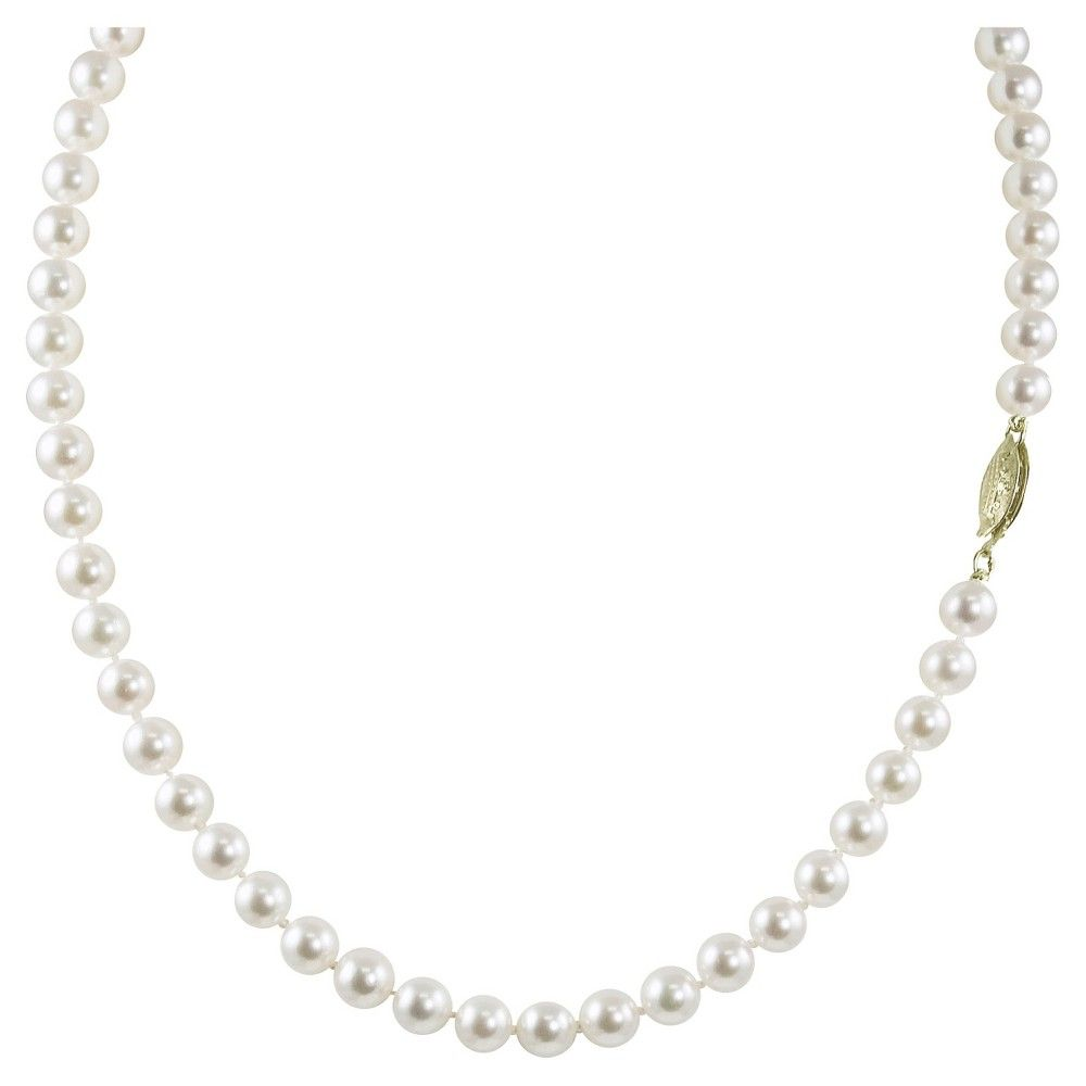 """PearLustre by Imperial 18"""" 14K Yellow Gold 6.5-7mm """" Akola Cultured Pearl Necklace with 14Kt Clasp, Women's"""
