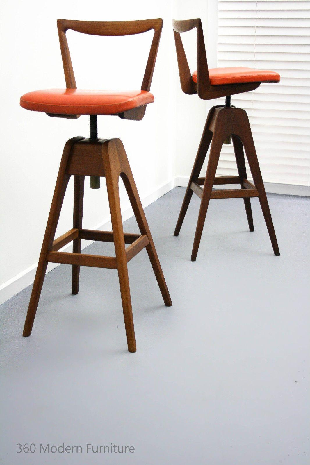 Mid century x 2 th brown swivel bar bench stools retro vintage danish scandi era in
