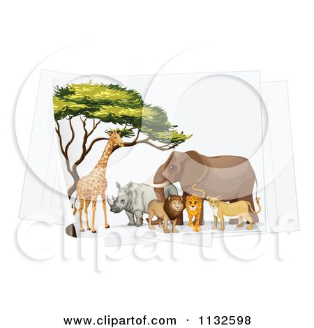 Cartoon Of Giraffes At A Watering Hole By An Acacia Tree At Sunset Royalty Free Vector Clipart By Colematt 1132 Acacia Tree Clip Art Pictures Cartoon Styles