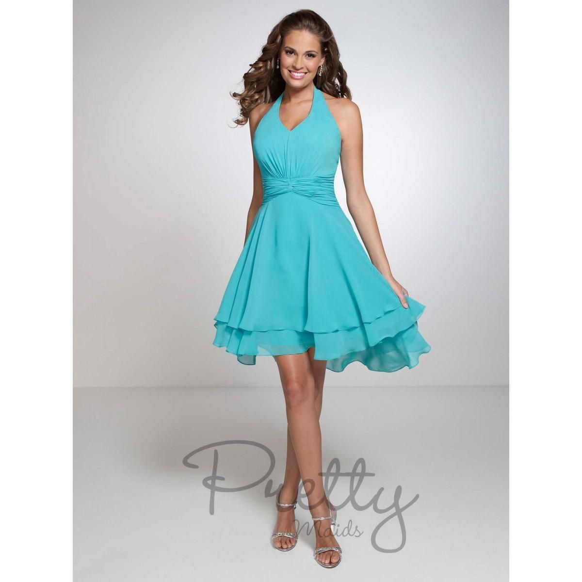 Turquoise halter chiffon short bridesmaid dresses mini ruffles