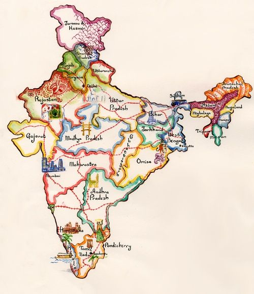 Colorful Map Of India