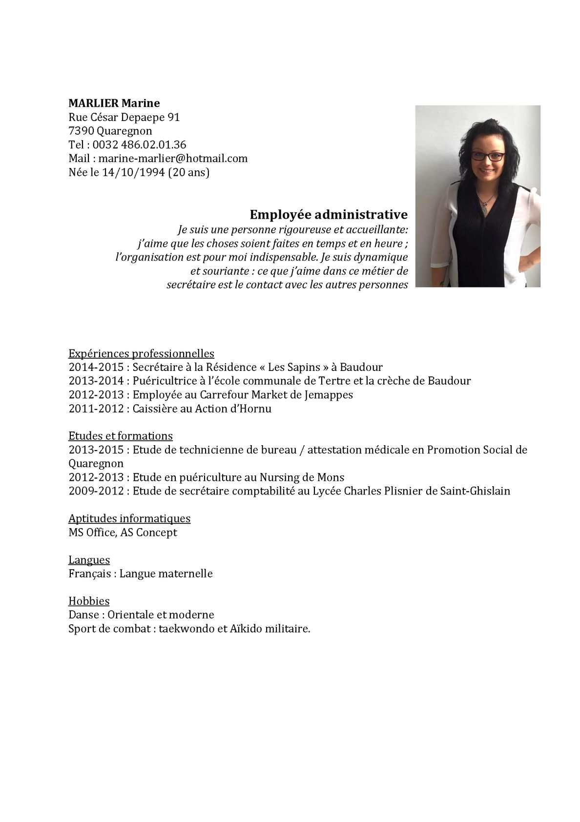 Cv Emploi Poste Marine Marlier Employe Administratif Secretaire Mons Tournai Emploi La Poste Curriculum