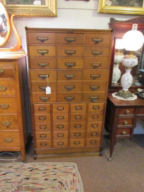 S38 antique oak multi drawer file unit cabinet Yamman & Erbe Mfg Rochester  NY - S38 Antique Oak Multi Drawer File Unit Cabinet Yamman & Erbe Mfg