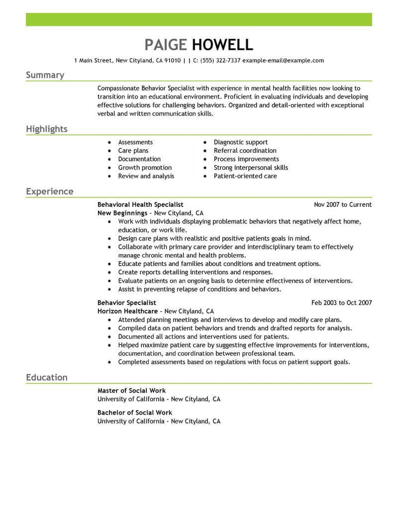 Best Behavior Specialist Resume Example Livecareer Resume Examples Resume Skills Department Of Social Services