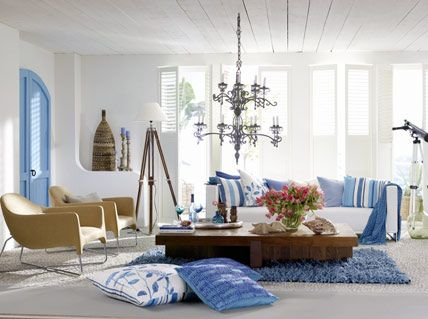design : wohnzimmer weiß blau ~ inspirierende bilder von ... - Wohnzimmer Weis Blau