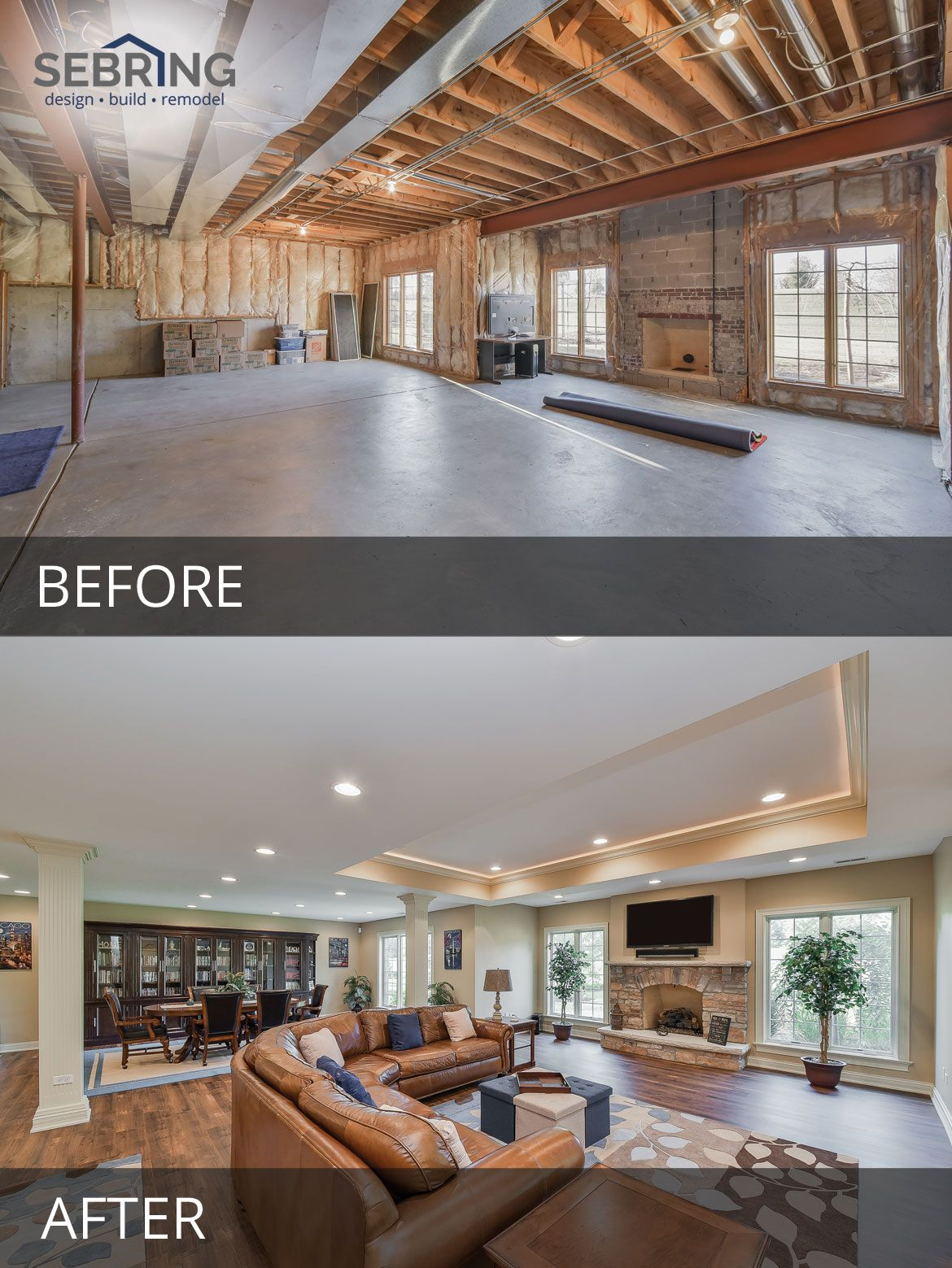 Bill & Julie's Basement Remodel Before & After Pictures #homestagingavantapres