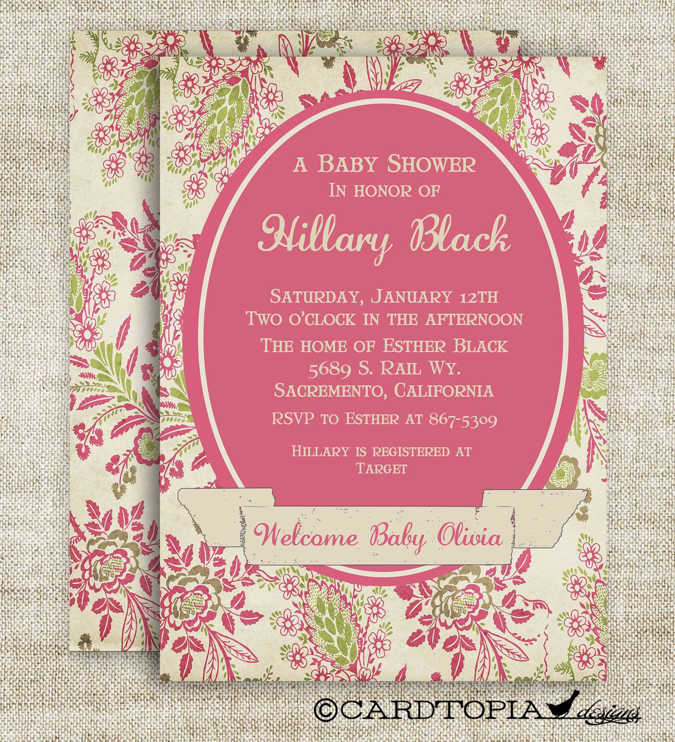 Victorian Rose and Banner Girl Baby Shower Invitation Digital ...