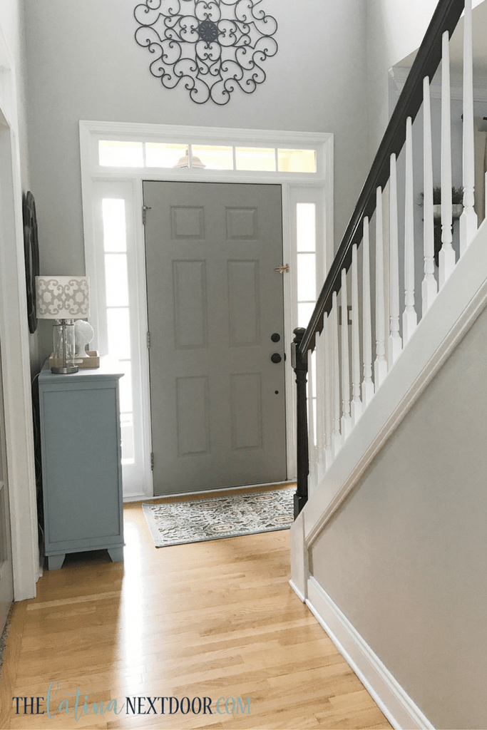 Update Your Foyer To A More Elegant Space The Latina Next Door Foyer Colors Painted Front Doors Foyer Decorating
