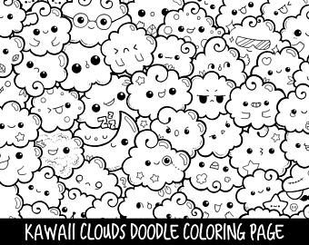 Marshmallows Doodle Coloring Page Printable | Cute/Kawaii ...