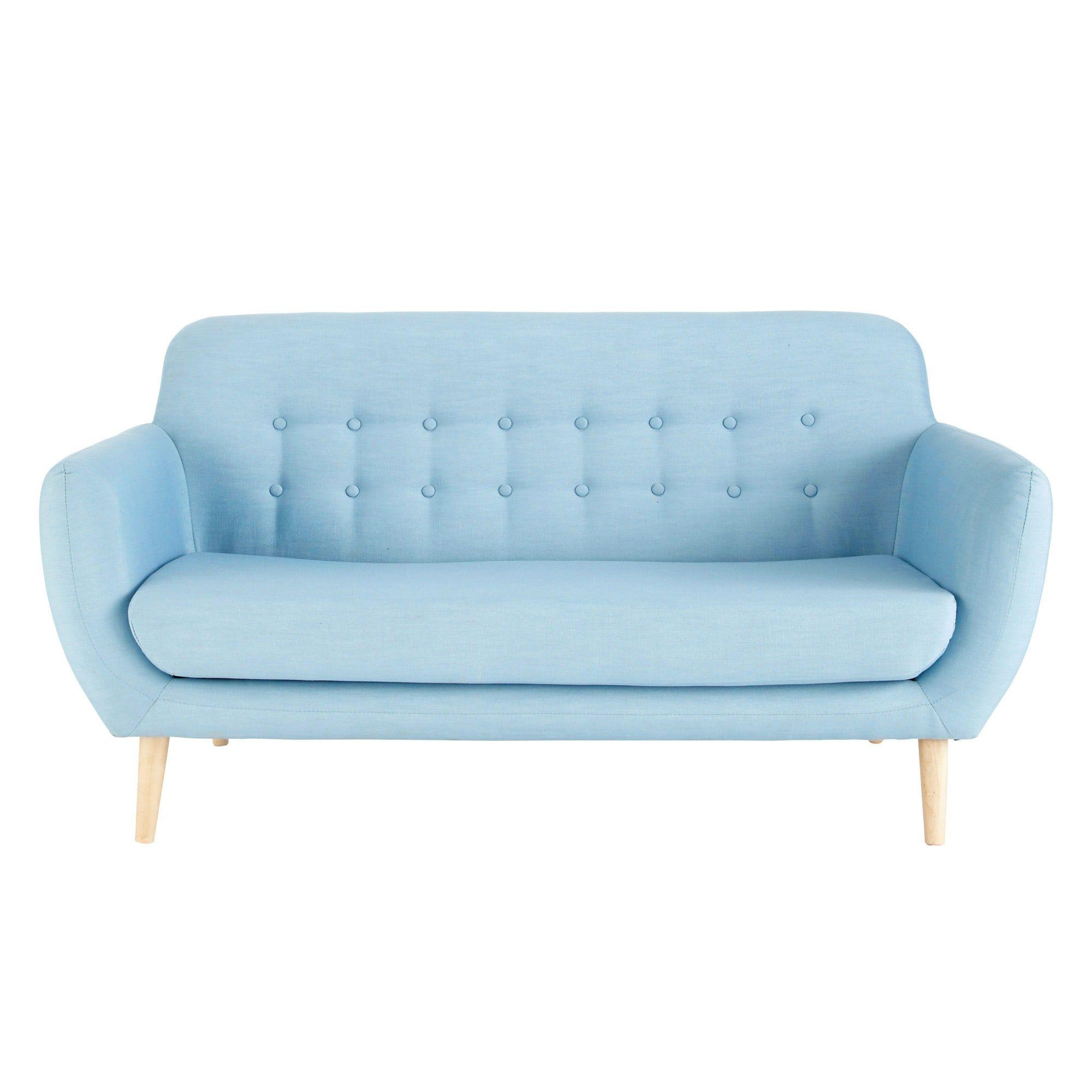 Skandinavischer -Sofa 2/3-Sitzer aus Stoff, blau Jetzt bestellen ...