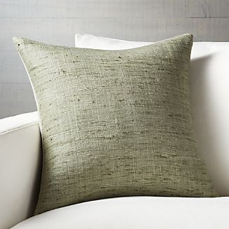 Handspun Raw Silk Takes To Soft Sage Green In Tonal Shades That Add Depth And Dimension The Fabric S Naturally Nubby Texture Pillow Reverses Solid
