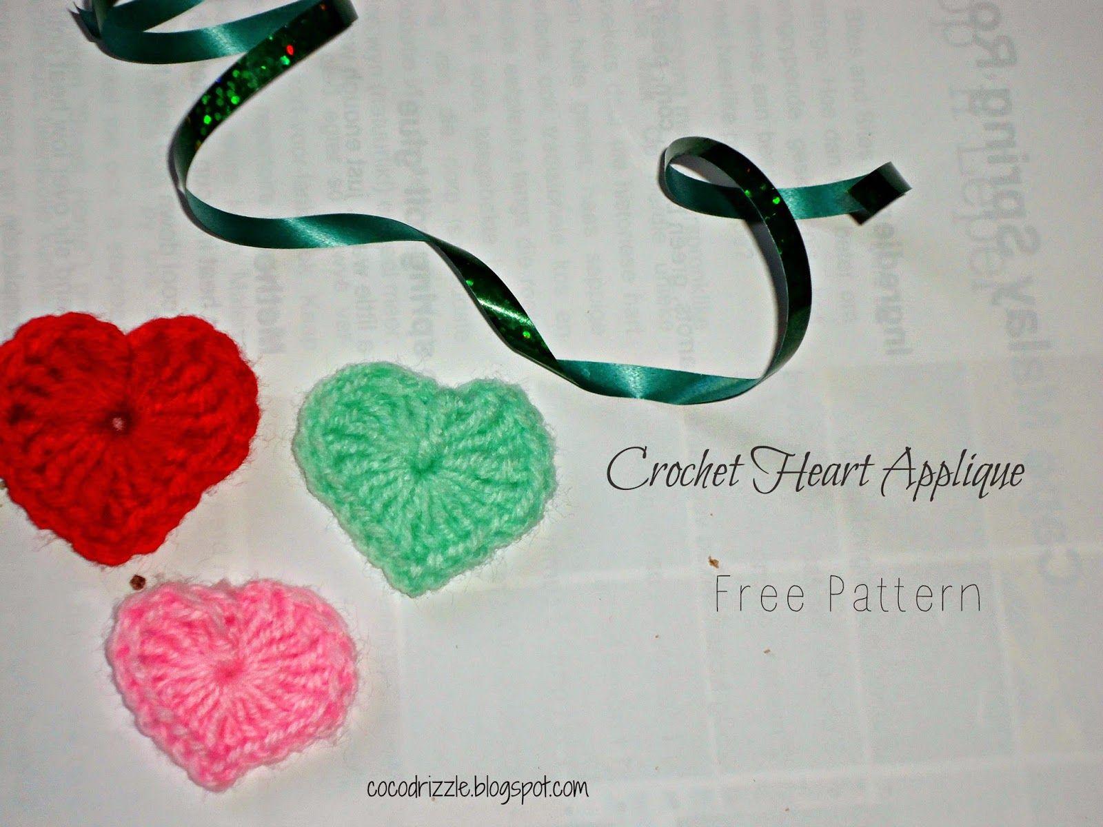 Crochet heart applique free pattern cocodrizzle knitting
