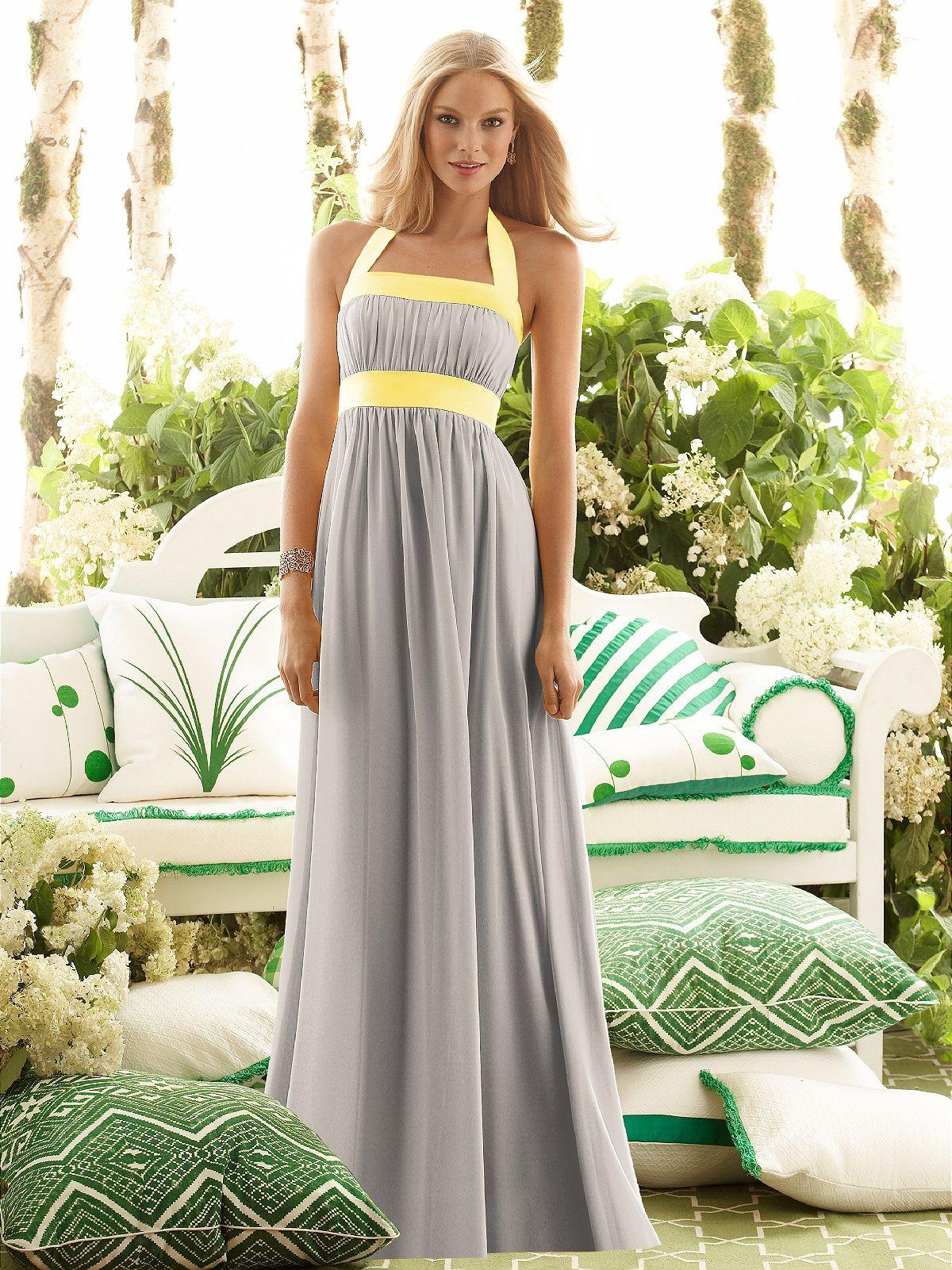 Gray and Yellow Tea Length Dresses
