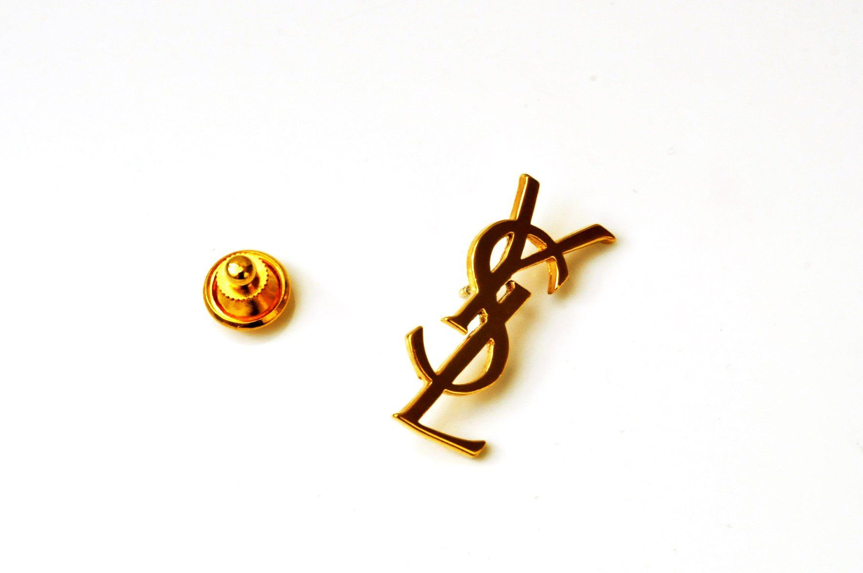 vast selection buy good quality Yves Saint Laurent pin's broche logo YSL initiale doré ...
