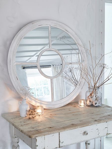 This Large Round Wood Loft Style Window Mirror Has A Beautifully Soft  Distressed Paint Finish.
