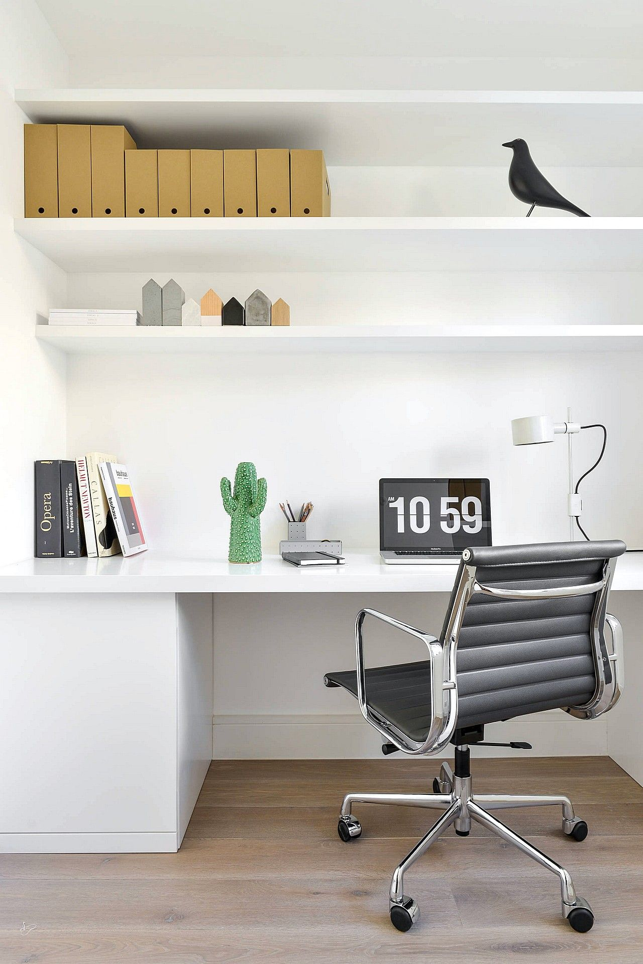 Comfortable Desk With Chair For Home Office Wall Shelves In White Walls