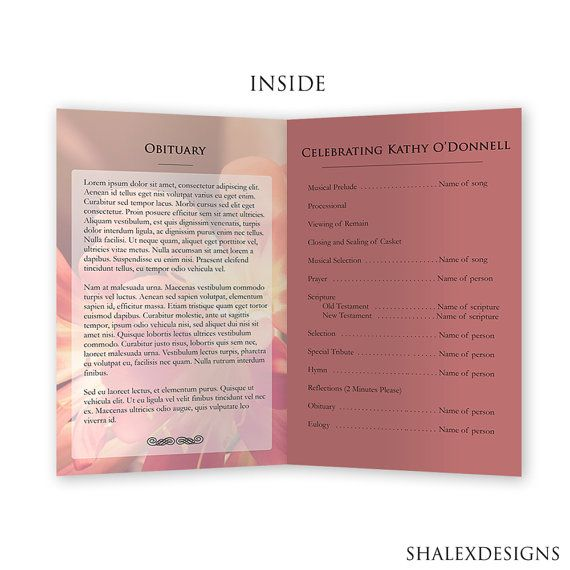 A Beautiful Funeral Program Template Funeralprogram Photoshop